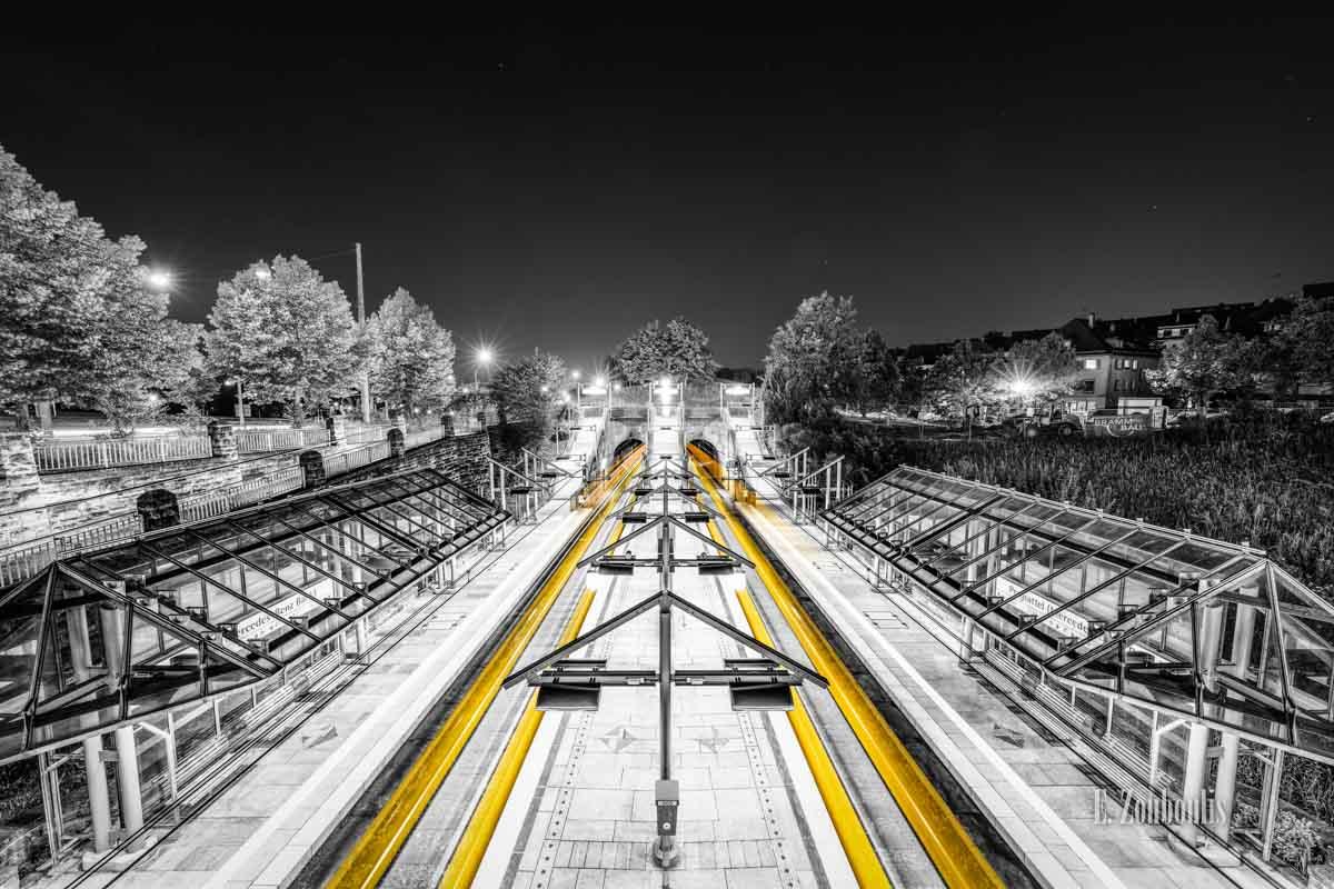 Einfahrende und ausfahrende Straßenbahnen am Pragsattel in Stuttgart
