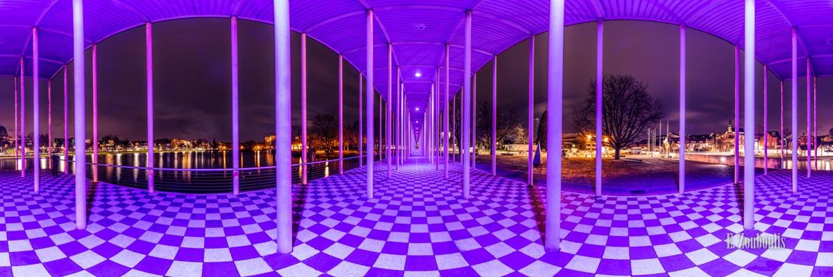 Wandelhalle Böblingen in einem 360 Grad Panorama bei Nacht