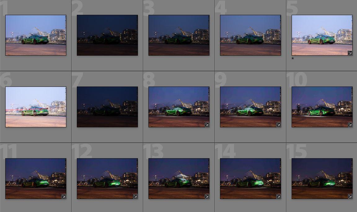 Übersicht über Einzelaufnahmen beim Ausleuchten in der Autofotografie