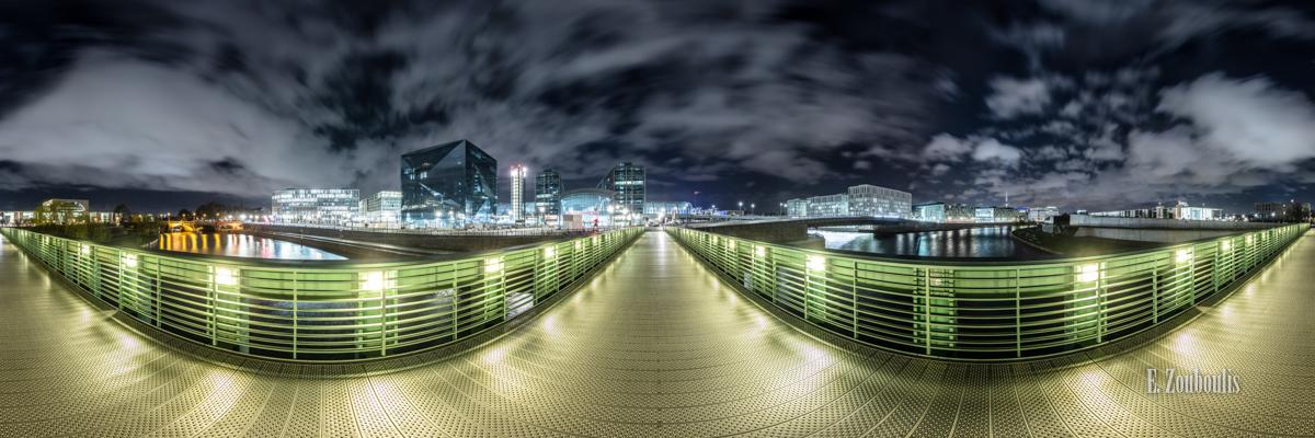 Die Wege Berlins - 360 Grad Fotografie über der Spree mit Blick auf den Hauptbahnhof und das Regierungsviertel von Berlin