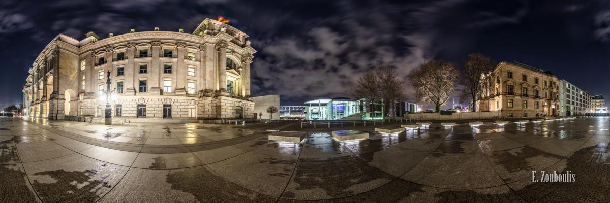 Friedrich Ebert Platz Panorama - 360 Grad Fotografie vor dem Reichstag in Berlin bei Nacht mit Blick auf das Marie-Elisabeth-Lüders Haus