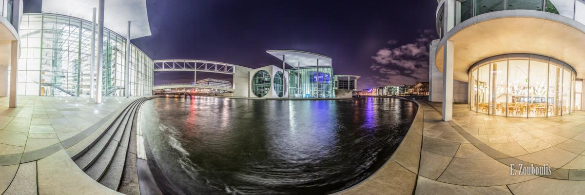 Berlin - Am Ufer der Spree - 360 Grad Fotografie an der Spree vor dem Paul Löbe Haus in Berlin bei Nacht