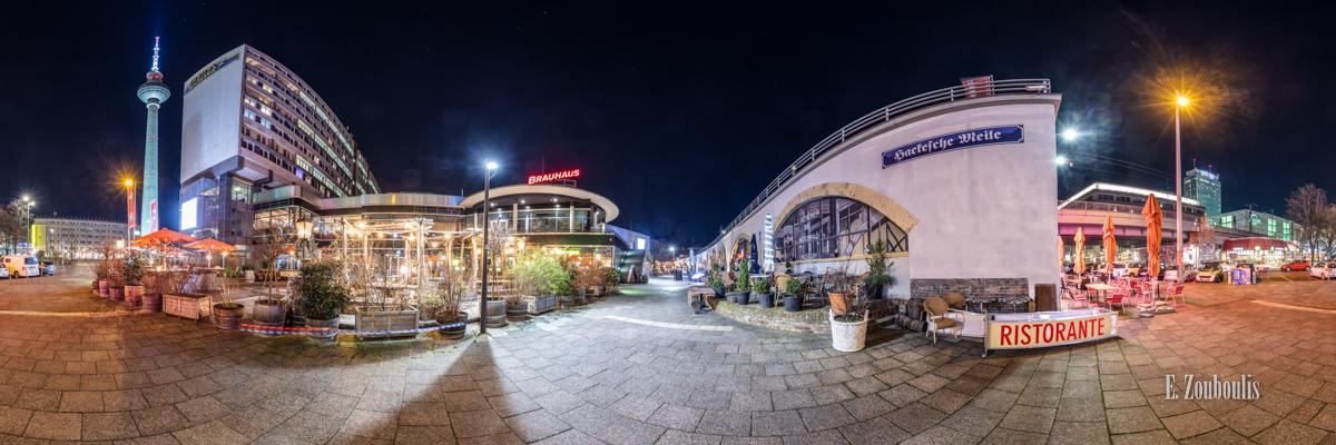 Berlin Hackesche Meile Panorama - 360 Grad Fotografie an der Hackeschen Meile Berlin bei Nacht